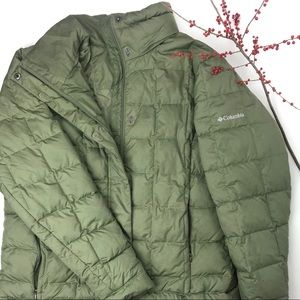 Columbia olive army green puffer jacket